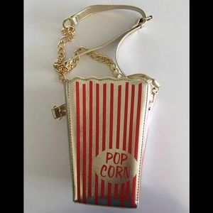 Handbags - Popcorn Gold/ Red Striped Crossbody Purse